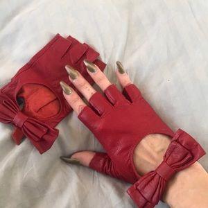 Carolina amato real red leather fingerless gloves